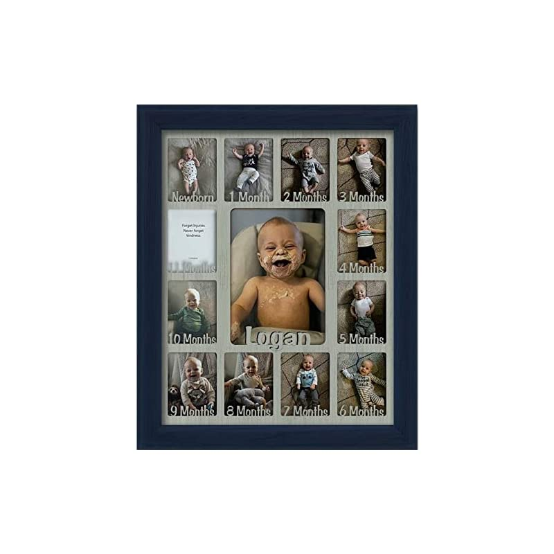 """crib bedding and baby bedding northland baby first year personalized frame - holds twelve 2.5"""" x 3.5"""" newborn nursery decor photos and 5"""" x 7"""" one year picture, navy frame, light gray mat, customizable with any name"""