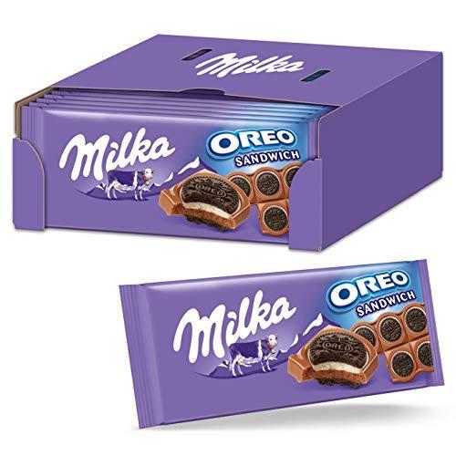 Milka OREO Sandwich Tafelschokolade 15 x 92g, Zarte Milka Alpenmilch Schokolade mit 10 Mini Original OREO Keksen