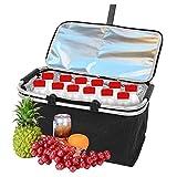 Vale la pena tener: cesta de picnic, bolsa de comida para el hogar, 30 L, tamaño grande, impermeable, aislada, térmica, para picnic, bebidas, catering, camping, playa y más, rojo (color negro)