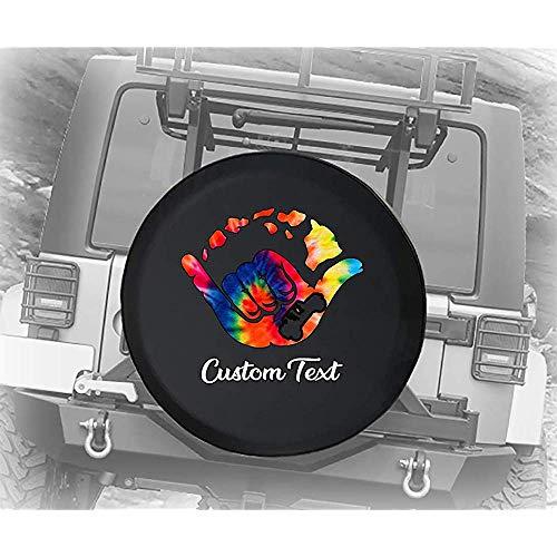 Y.Z.L. Cubierta de neumático de Repuesto Personalizada Cubierta de Rueda de Repuesto Tie Die Hawaiian American 4x4 se Adapta a SUV RV Accesorios14/15/16/17in