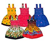 Sathiyas Baby Girls Cotton Gathered Dresses (Multicolor, Set of 5, 6-12 Months)