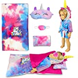 WONDOLL 18-inch Doll-Clothes and Doll-Sleeping-Bag Set - Unicorn-Pajama with Matching Sleepover Masks & Pillow - Compatible with American-Girl-Doll-Clothes, Our-Generation, My-Life Dolls