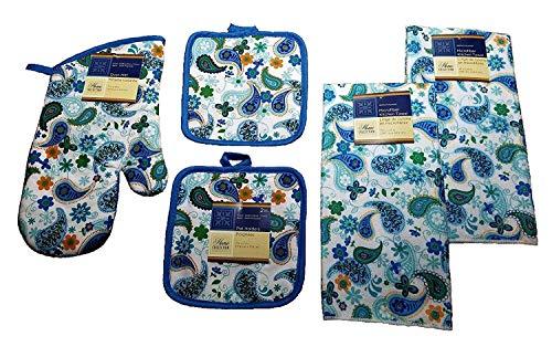 Home Collection Paisley Küchentuch-Set, 5-teilig, 2 Handtücher, 1 Ofenhandschuh, 2 Topflappen, 2 Topflappen