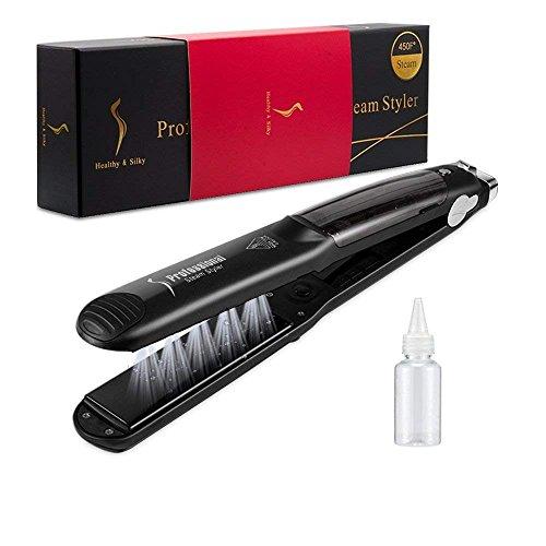 Enderezadoras de vapor para el cabello, 450F Profesional Engrasador de cerámica multifuncional Steam Hair Enderezadoras Curler Hair Salon Steam Styler