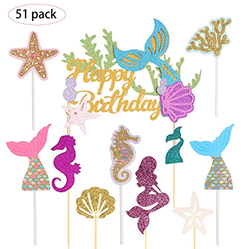 Kindergeburtstag Deko Meerjungfrau,Mermaid Happy Birthday,Mermaid Party,Happy Birthday Banner,Meerjungfrau Geburtstagsparty Dekorationen,Cupcake Meerjungfrau