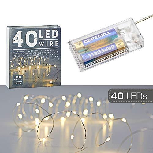 40 LED Mikro Draht Lichterkette warmweiß silber Batterie Deko Beleuchtung Weihnachten Timer (1 x 40 LED Mikro-Draht Lichterkette)