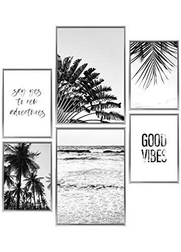 Heimlich® Premium Poster Set | Stilvolles Set mit passenden Bilder als Wohnzimmer Deko | 2 x DIN A3 & 4 x DIN A4 - ca. 30x42 & 21x30 | Bilderrahmen Aluminium Silber » Good Vibes «