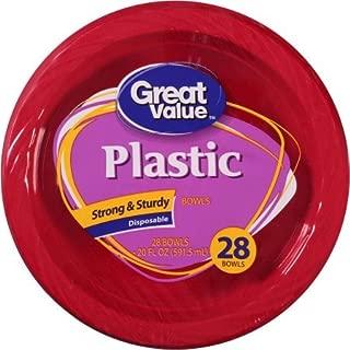Great Value Premium Plastic 20 Oz Bowls, Red, 28 count