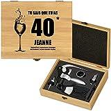 Murrano Weinöffner-Set personalisiert Weinset Sommelier Set - Geschenkbox Holzbox + 6er Weinzubehörset - aus Bambus - Braun - Geschenke für Frauen zum Geburtstag - endlich 40