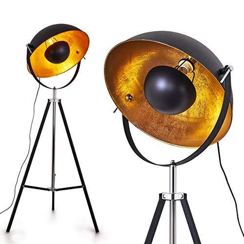 Stehlampe Jupiter, Vintage Stehleuchte in Schwarz/Gold aus Metall m. Gestell aus Metall, Ø 55cm, E27-Fassung, max. 60 Watt, verstellbare Bodenleuchte im Retro-Design, geeignet für LED Leuchtmittel