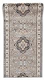 Läufer Teppich Flur in Grau - Orientalisch Klassischer Muster - Brücke Läuferteppich nach Maß - 80 cm Breit - AYLA Kollektion von Carpeto - 80 x 500 cm