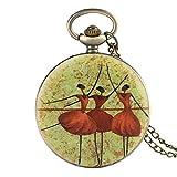 GPWDSN Reloj de Bolsillo, el Collar más Nuevo de Tres Bailarines de Ballet Cadena de joyería de Cuarzo Retro Colgante Los Mejores Regalos para niñas Bailarina de Ballet, Reloj de Bolsillo y ca