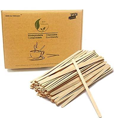 7.5'' Long Beverage Coffee Tea Stir Sticks Stirrers, 1000 Count Natural Wooden Collection Stirrer, Wooden Muddler for Hot Drinks Coffee Milk Powder