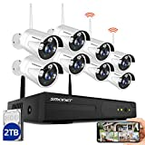 SMONET Security Camera System Wireless Outdoor,8CH 960P Wireless Video Security Camera System(2TB Hard Drive),8pcs 960P(1.3MP) Wireless IP Cameras,P2P, Night Vision for CCTV Camera,Free APP