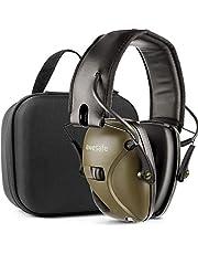 Awesafe Casco Tiro Electronico Protector Auditivo Auriculares de Caza Protectores para Oídos Especialmente Diseñados para Cazadores y Tiradores +Estuche Rígido Funda de almacenamiento (Verde