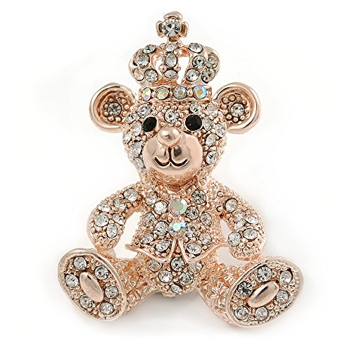 Avalaya Gold Tone Clear Crystal Royal Teddy Bear Brooch - 40mm L