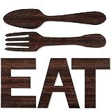 Dibiao Set von Essen Zeichen Gabel Löffel Dekoration Wand Küche Home Dekoration Rustikalen Holz Essen Dekoration Nette Essen Buchstaben Geeignet für Wände Schreibtische Einfach zu