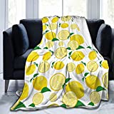 Summer Lemon Fruit Throw Blanket Soft Fleece Blanket for Bed Sofa Couch Office Travelling Lightweight Gifts for Kids Adults Women All Seasons Warm Plush Cozy Flannel 50'x60'