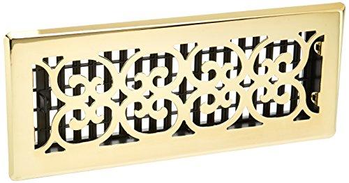 Decor Grates SPH412 Floor Register, 4x12, Polished Brass Finish