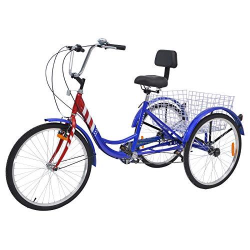 H&ZT Adult Tricycle 3 Wheels Bicycle 20in Wheels Tricycle Bikes (Stars-Stripes, 24in Wheels)