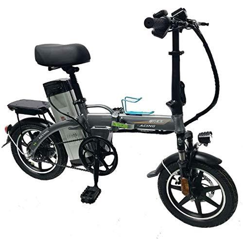 YPLDM Bicicleta eléctrica Plegable Mini Coche eléctrico Mini Scooter eléctrico,Gris