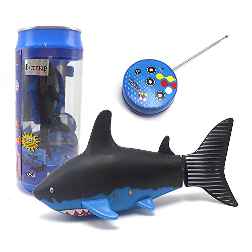 Escomdp Mini Sized RC Fish Shark Remote Control Boat Ship...