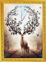 刺繡スターターキット刻印クロスステッチキット初心者フラワーツリー四季フルーツ鹿は簡単に面白いプレプリントパターンでDIY11CT刺繡のために結婚します16x20inch