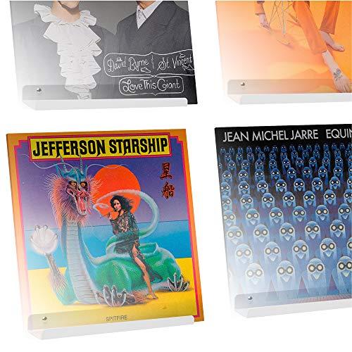 Hudson Hi-Fi Schallplatten-Wand-Display – 4 Stück – Präsentieren Sie Ihren täglichen Hörgenuss mit Stil – White Pearl