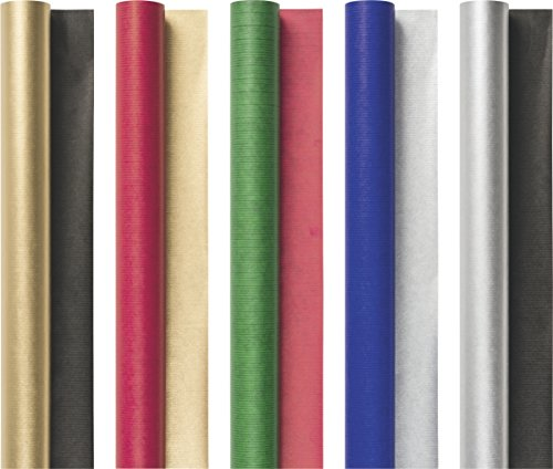 Brunnen 1030204 Bucheinschlagpapier / Einschlagpapier, Rolle, 70 x 200 cm, 70 g/m², sortiert, 5 Farben)