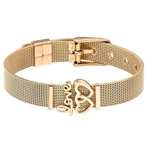 Ningz0l Armband Voor Vrouwen Sieraden, Mode Eenvoudige Elektroplated Letters RVS Met Sieraden Vrouwelijke Geschenken Goud