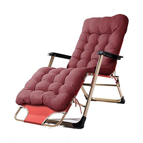 Chair Zhaizhen Chaise longue à bascule pliable pour pause déjeuner, bureau, lit de sieste, dossier cool pour jardin en plein air (couleur : rouge)