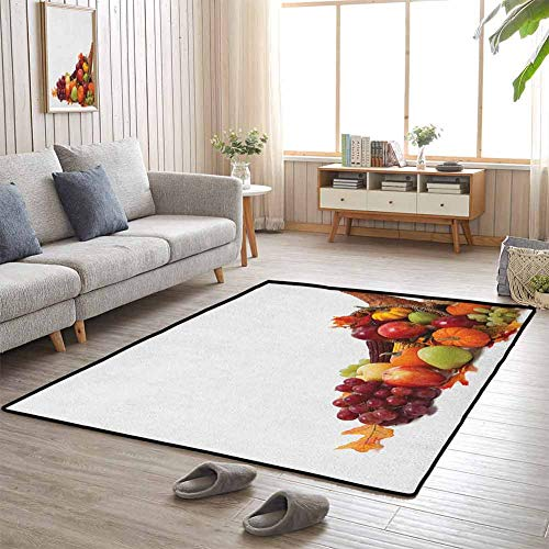 Home Decor Carpet, Durable Non Skid Rug Fashions Natural Style for Indoor Outdoor Front Door, Harvest | Fall Arrangement with Fruits of The Season in a Cornucopia Bountiful Harvest Corn - 4'x5'