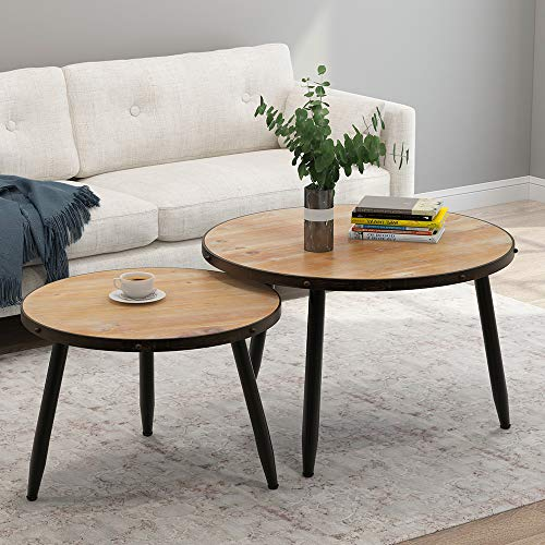 wood and metal coffee table sets - 8