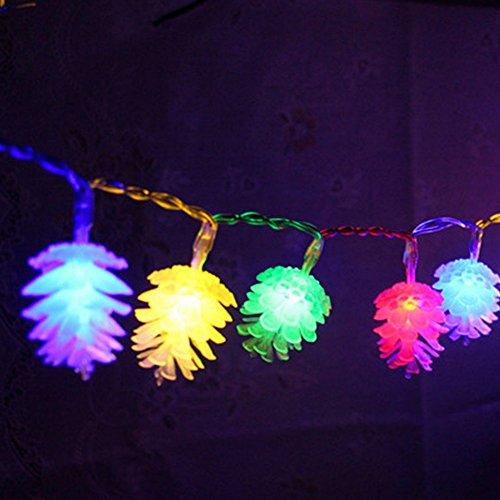 Hangqi 20led à piles lampe de pommes de pin Guirlande lumineuse fête de mariage de Noël de Noël (Multicolor)