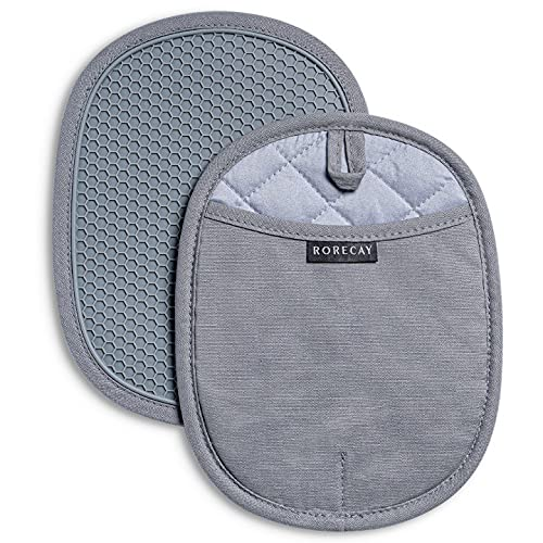 Rorecay Silicone Pot Holders Sets: Heat Resistant Oven Hot Pads with Pockets Non Slip Grip Large Potholders for Kitchen Baking Cooking | Quilted Liner | 9.8 x 7.6 Inches | Gray | Pack of 2