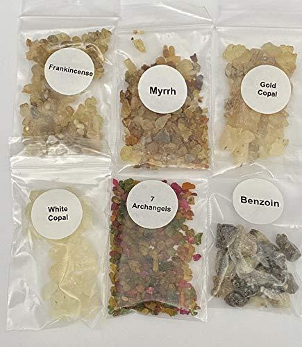 The Better Scents Resin Incense Variety Sampler Set- 1/4 oz Bags of Frankincense- Myrrh- 7 Archangels- Gold Copal- White Copal- Benzoin Natural resins