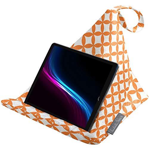 Izabela Peters Designer Bean Bag Cushion Pillow Holder Stand for iPad, Tablet, Kindle, Phone - Works Every Angle - Luxurious Shimmer Velvet - Morc Orange & White Bahia | Marrakech Collection
