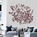 Adesivos de parede de vinil, adesivos de parede, amor, pássaros, romance, decoração de quarto de casa, mural de arte de parede removível para decoração de quarto, sala de estar, 57 x 66 cm