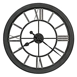 Howard Miller Maci Wall Clock 625-685 – Wrought-Iron Finished in Iron Gray, Silver-Finished Hour Markers, Antique Home Decor Timepiece, Quartz Movement