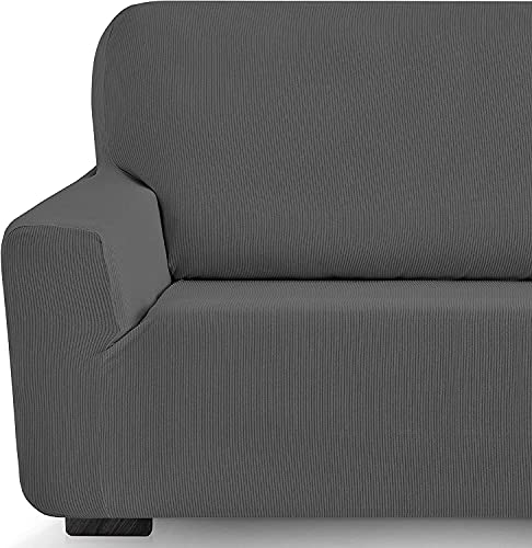 Funda elástica Sofa Adaptable rústica (2 Plazas (130-180 cn), Gris)