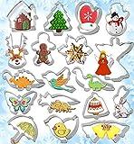 Emporte-Pièces, Gyvazla 18 Pcs Moule à Biscuits Patisserie en Acier Inoxydable, Bonhomme de Neige, Arbre de Noël, Flocon de Neige et Autres Formes pour Décoration de Fondant Biscuit Cookie Pâtisserie