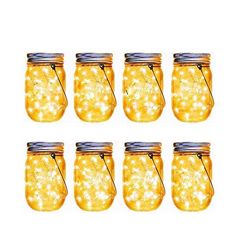Juego de 8 farolillos solares para decoración de mesa de boda, 8 piezas, 20 piezas de luces LED, cielo estrellado