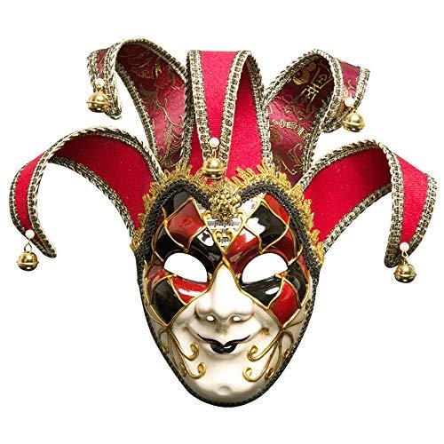 BLEVET Venezianische Maske Gesichtsmaske Joker Karneval Fasching Maskenball Karneval MZ011 (Red)