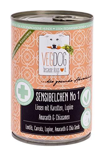 VEGDOG Vegetarisches Hunde Alleinfutter Sensibelchen No 1, 6er Pack (6 x 400 g)