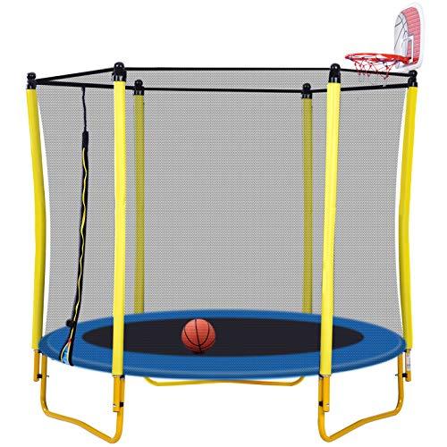 LZZJ Miniskirt Toddler Trampoline con gabinete para niños - 65'Aro de Baloncesto y Bola de Baloncesto Interior y Bola 5 pies Trampolín (Entrega Dentro de 7 días)
