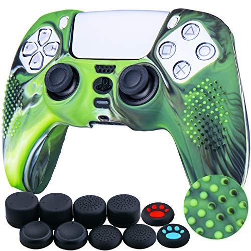 YoRHa Tachonado Silicona Caso Piel Fundas Protectores Cubierta para Sony PS5 Dualsense Mando x 1 (Verde Camuflaje) con Pro los puños Pulgar Thumb gripsx 8
