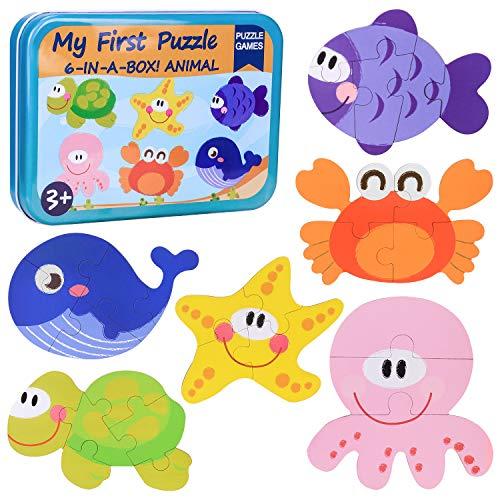 Puzzles de Madera Niños,Juguetes Bebes para 1 2 3 4+ año,Animales Marini Rompecabezas, Juguete Educativo Montessori,Educativos Rompecabezas Cognitivo, Cumpleaños Niñas Niños
