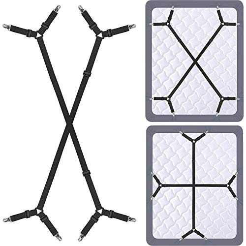 Siaomo Bed Sheet Holder Straps - Adjustable Crisscross Sheet Clips Elastic Band Fitted Bed Sheet Fasteners Suspenders Grippers Clip,2Pcs/Set Black