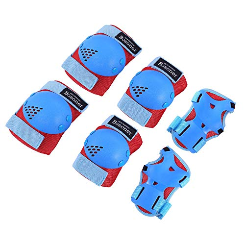 BOSONER Kids/Youth Knee Pad Elbow Pads for Roller Skates Cycling BMX Bike Skateboard Inline Rollerblading, Skating Skatings Scooter Riding Sports (Red/Blue, Small (3-7 Years))