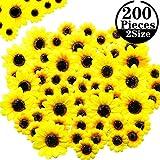 WILLBOND 200 Cabezas de Girasoles Artificiales 1.8/2.8 Pulgadas Girasoles Amarillos de Seda Arreglos Florales de Tela para Decoración Arte de Bricolaje Jardín Flores Novia Cumpleaños Boda Casa